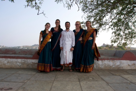 The girls wearing their Saris and me wearing a Dhoti. (Right after we were on Indian TV)
