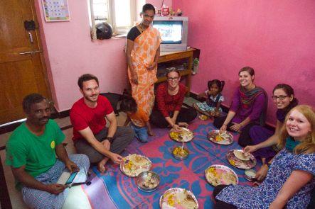 Eating our delicious homemade Dosas at Prabhakar's house